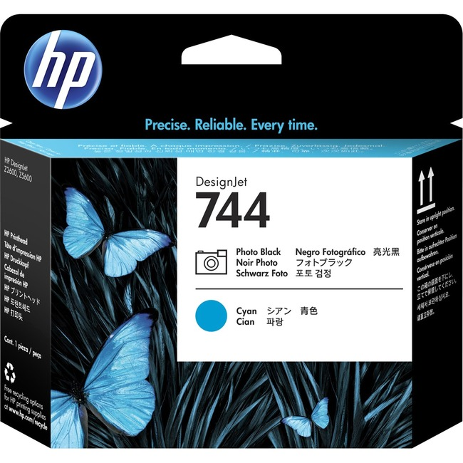 HP 744 Original Printhead - Photo Black, Cyan