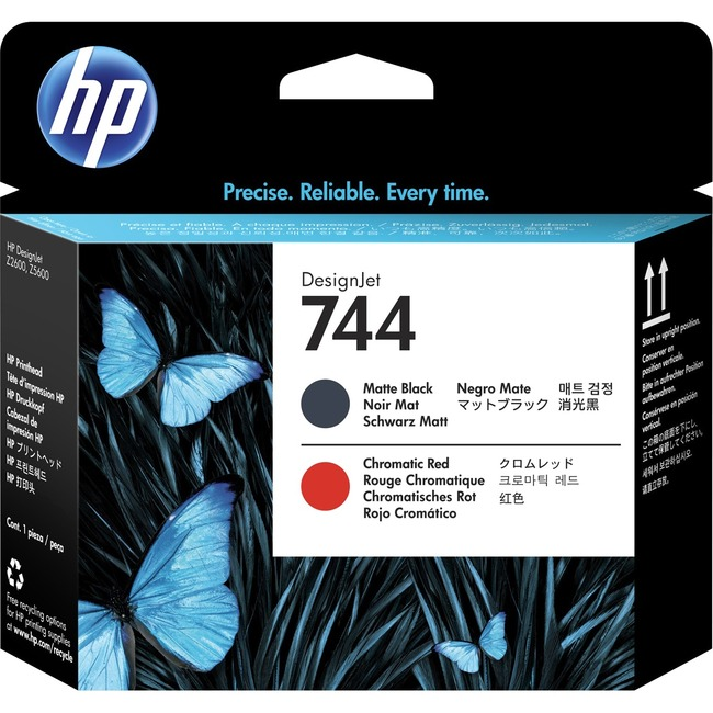 HP 744 Original Printhead - Matte Black, Chromatic Red