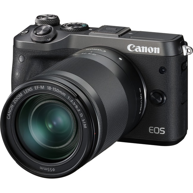 Canon EOS M6 24.2 Megapixel Mirrorless Camera with Lens - 18 mm - 150 mm - Black