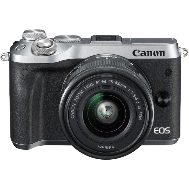 Canon EOS M6 24.2 Megapixel Mirrorless Camera with Lens - 15 mm - 45 mm - Silver