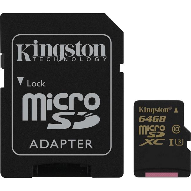 KINGSTON - DIGITAL IMAGING 64GB MICROSDXC CLASS U3 UHS-I 90R/45W W/ SD ADAPTER