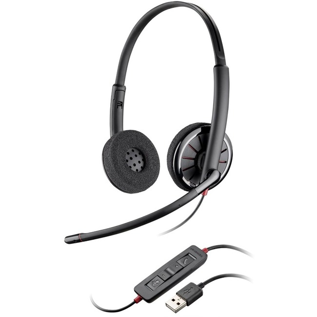 Plantronics Blackwire C320-M Wired Stereo Headset - Over-the-head - Supra-aural - Grey - 20 Hz - 20 kHz - USB