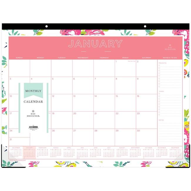 Blue Sky Day Designer Floral Desk Pad