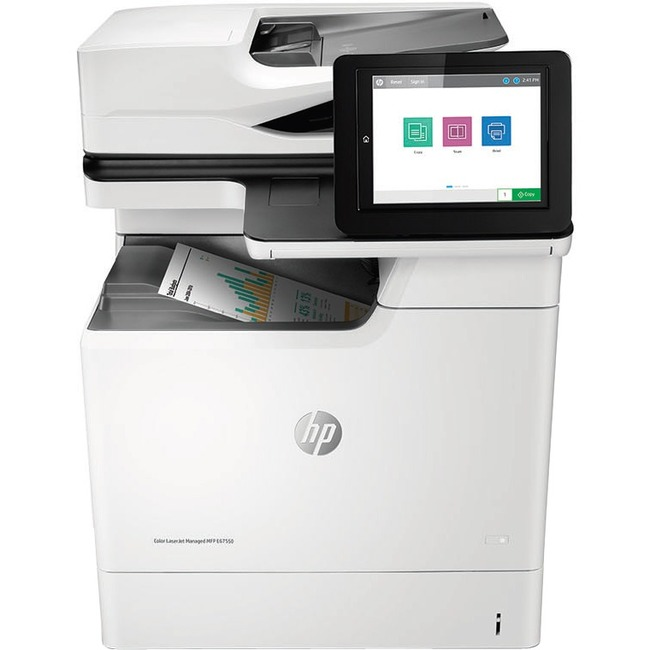HP LaserJet E67550dh Laser Multifunction Printer - Monochrome - Plain Paper Print