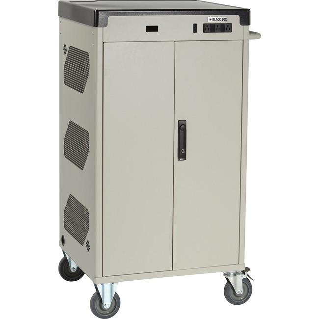 """Black Box Deluxe Cart - Standard Charging, 30-Device, 13""""D Slot, Sliding Door, Keylock"""