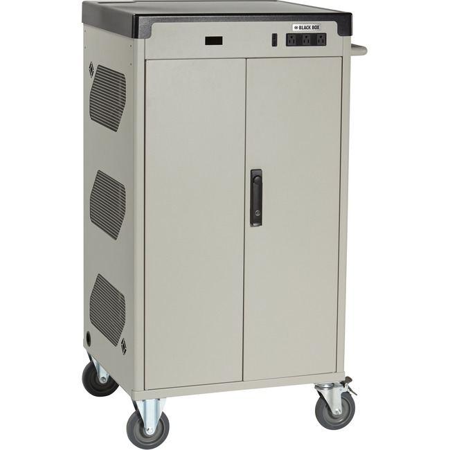 "Black Box Deluxe Cart - Standard Charging, 36-Device, 15""D Slot, Hinged Door, Keylock"