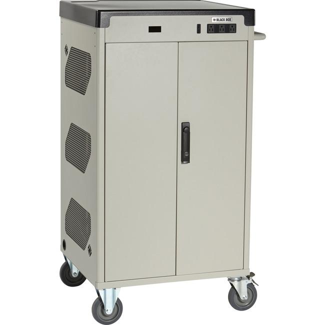 """Black Box Deluxe Cart - Intelligent Charging, 36-Device, 15""""D Slot, Hinged Door, Hasp Lock"""