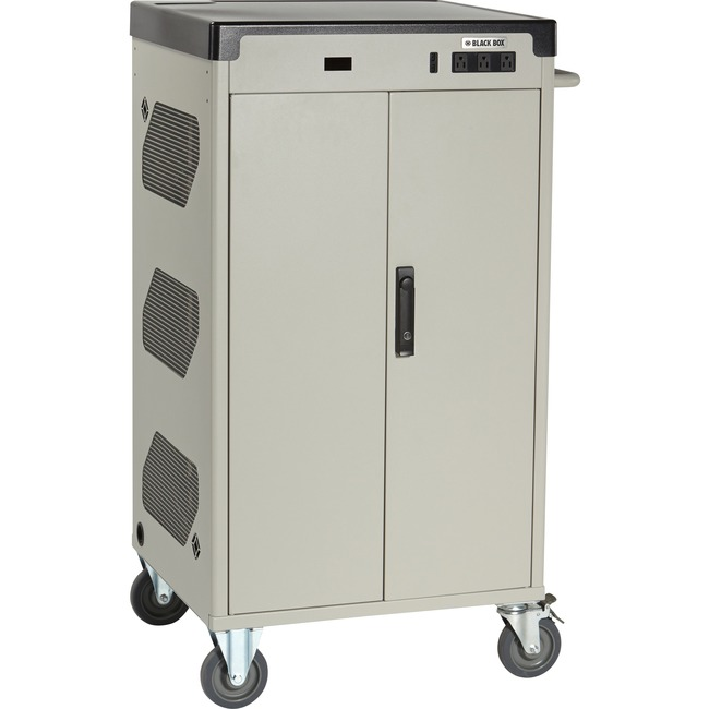 "Black Box Deluxe Cart - Standard Charging, 36-Device, 17""D Slot, Hinged Door, Hasp Lock"