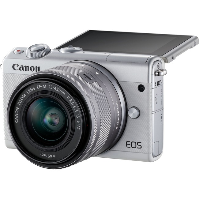 Canon EOS M100 24 Megapixel Mirrorless Camera with Lens - 15 mm - 45 mm (Lens 1), 55 mm - 200 mm (Lens 2) - White