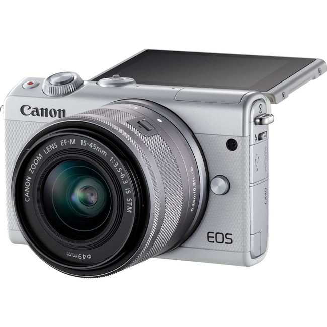 Canon EOS M100 24 Megapixel Mirrorless Camera with Lens - 15 mm - 45 mm - White