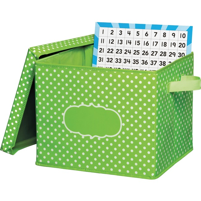 Teacher Created Resources Lime Polka Dots Storage Box