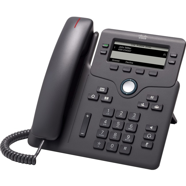 Cisco 6851 IP Phone - Corded - Corded - Wall Mountable-Desktop - Charcoal - 4 x Total Line