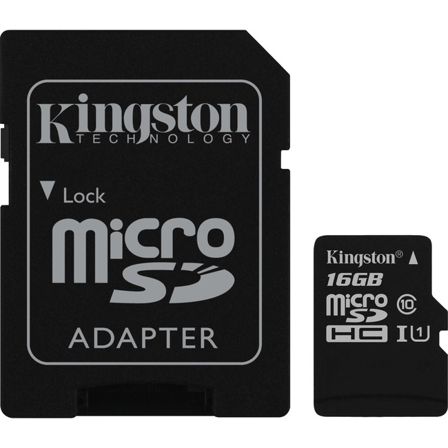 Kingston Canvas Select 16 GB microSDHC - Class 10/UHS-I U1 - 80 MB/s Read - 10 MB/s Write