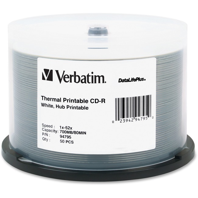 Verbatim CD-R 700MB 52X DataLifePlus White Thermal Printable, Hub Printable - 50pk Spindle