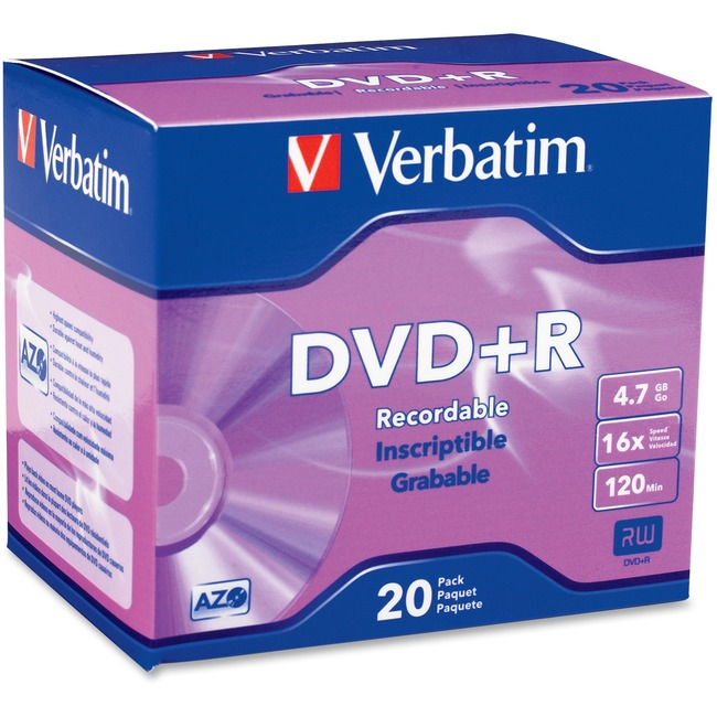 Verbatim AZO DVD+R 4.7GB 16X with Branded Surface - 20pk Slim Case - TAA Compliant