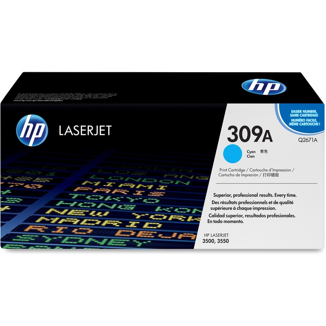 HP 309A Toner Cartridge - Cyan - Laser - High Yield - 4000 Page - 1 Each