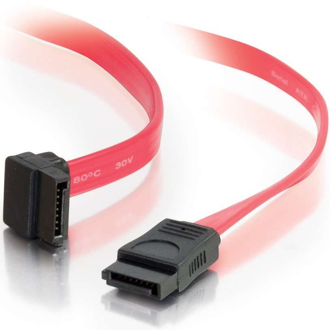 C2G 18in 7-pin 180° to 90° 1-Device Serial ATA Cable