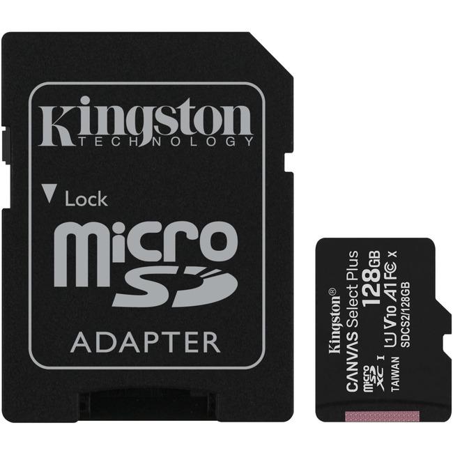 128GB MICROSDXC CANVAS SELECT 100R A1 C10 CARD + SD ADAPTER