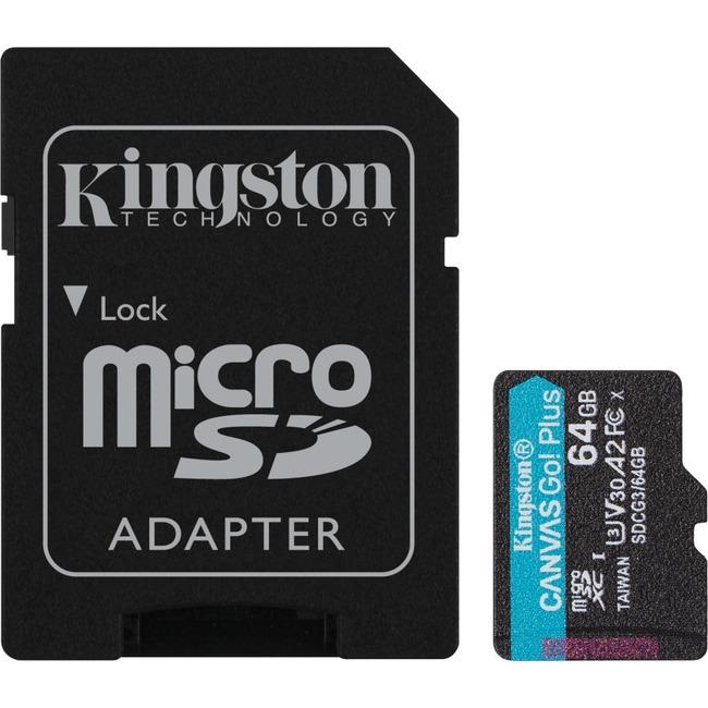 64GB MSDXC CANVAS GO PLUS 170R A2 U3 V30 CARD + ADAPTER