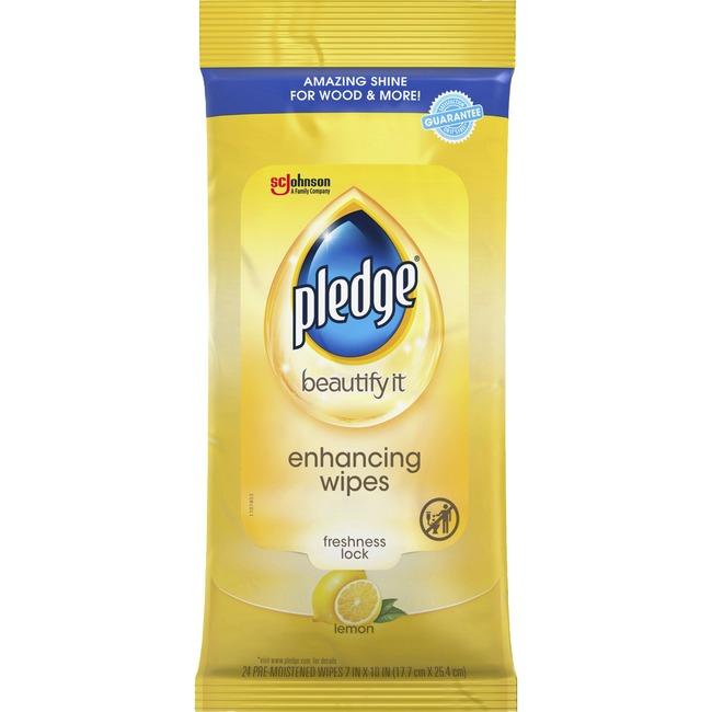 Pledge Lemon Enhancing Polish Wipes
