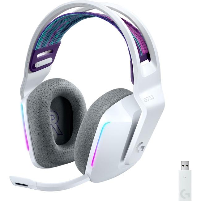 Logitech G733 Lightspeed Wireless RGB Gaming Headset - Stereo - Wireless - 65.6 ft - 5 Kilo Ohm - 20 Hz - 20 kHz - Over-the-head - Binaural - Circumaural - Cardioid, Uni-directional Microphone - White
