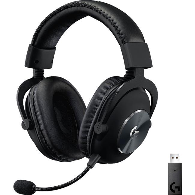 Logitech G PRO X Wireless Lightspeed Gaming Headset - Stereo - Wireless - 49.2 ft - 32 Ohm - 20 Hz - 20 kHz - Over-the-head - Binaural - Circumaural - Cardioid, Uni-directional, Electret, Condenser Microphone - Black (981-000906)