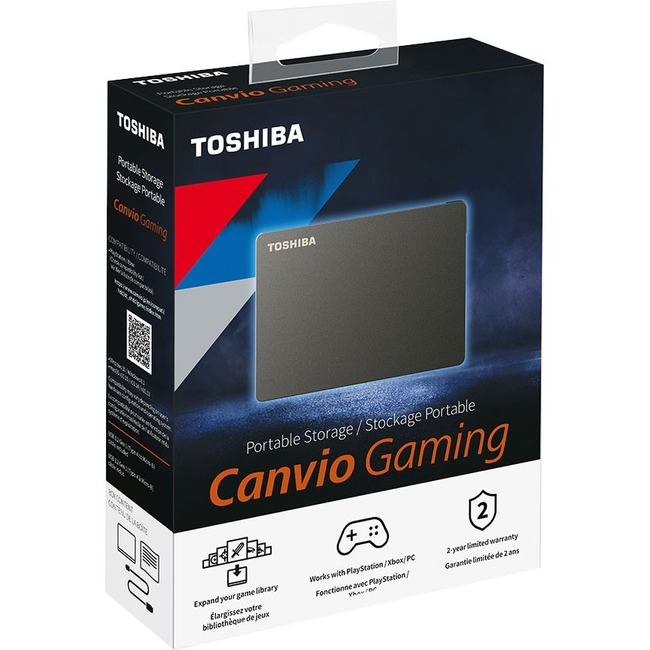 Toshiba Canvio Gaming HDTX140XK3CA 4 TB Portable Hard Drive - External - Black - Gaming Console Device Supported - USB 3.0