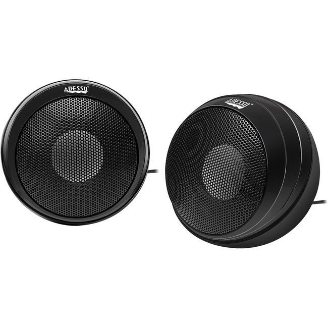 ADESSO 5W X 2 HI FI STEREO PORTABLE USB SPEAKERS ALL METAL BODY BUILT-IN STERE