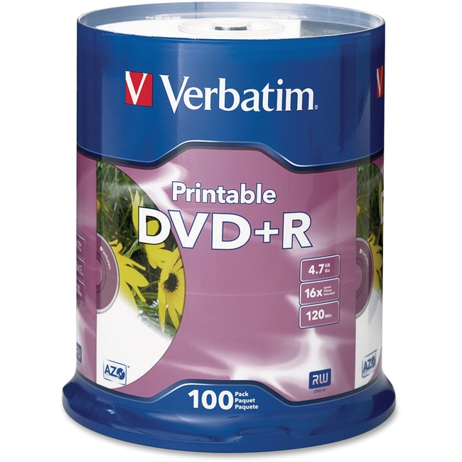 Verbatim DVD+R 4.7GB 16X White Inkjet Printable - 100pk Spindle - TAA Compliant