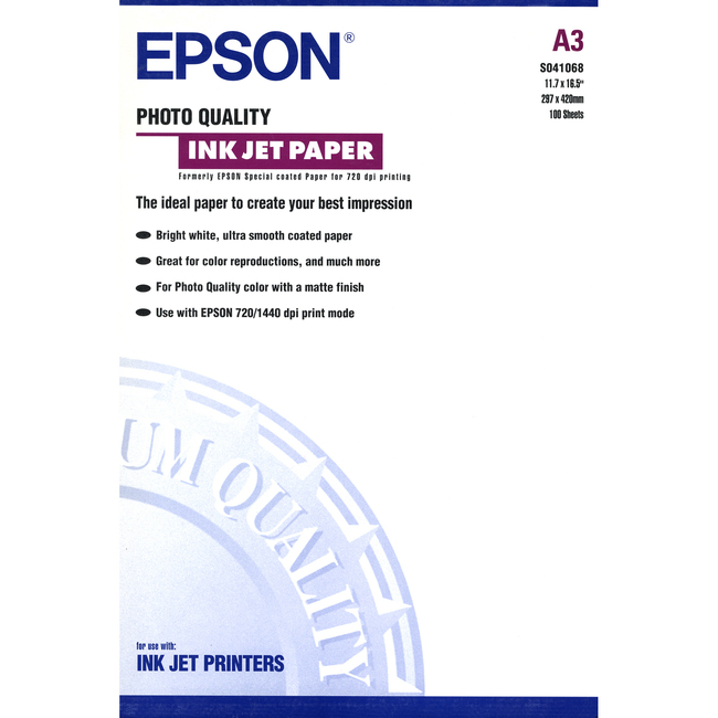 Epson C13S041068 Photo Paper - A3 - 297 mm x 420 mm - 100 x Sheet