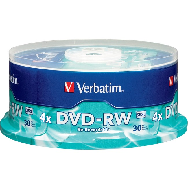Verbatim DVD-RW 4.7GB 4X with Branded Surface - 30pk Spindle - TAA Compliant