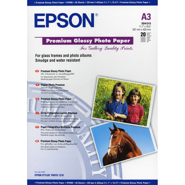 Epson Premium C13S041315 Photo Paper - A3 - 297 mm x 420 mm - Glossy - 20 x Sheet