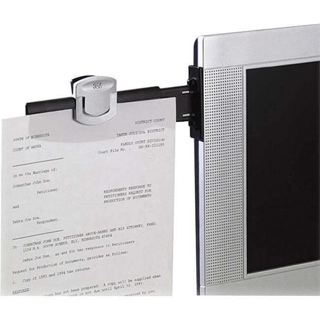 "Monitor Mount Document Clip, 6-1/4""x3"" , Black/Silver"