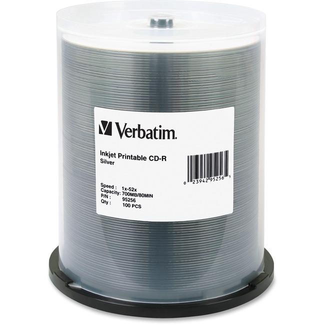 Verbatim CD-R 700MB 52X DataLifePlus Silver Inkjet Printable - 100pk Spindle