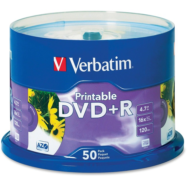 Verbatim DVD+R 4.7GB 16X White Inkjet Printable with Branded Hub - 50pk Spindle - TAA Compliant