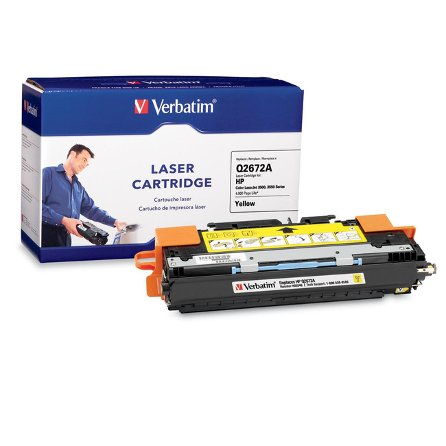 Verbatim HP Q2672A Yellow Remanufactured Laser Toner Cartridge - TAA Compliant
