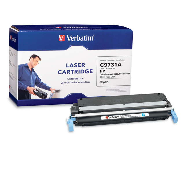 Verbatim HP C9731A Cyan Remanufactured Laser Toner Cartridge - TAA Compliant