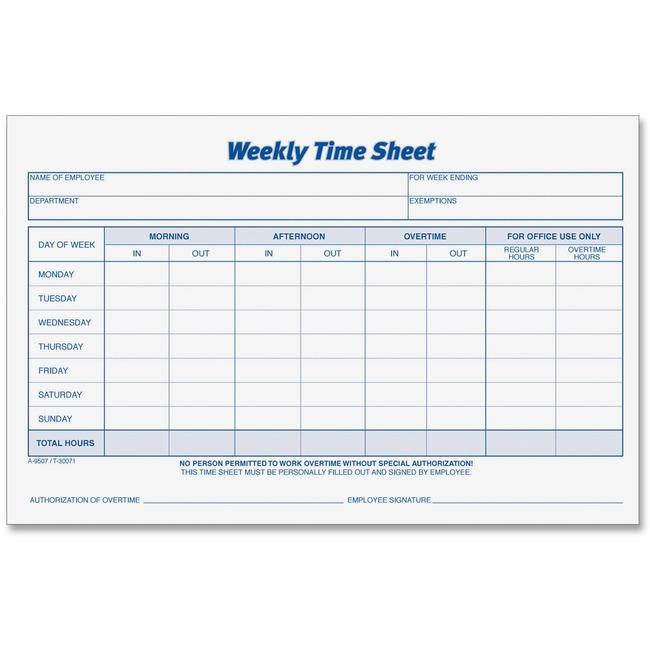 tops weekly timesheet form 30071 692624993839 ebay
