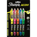 Sharpie Accent Highlighter - Liquid Pen - Micro Marker Point - Chisel Marker Point Style - Pink, Green, Orange, Yellow, Blue Pigment-based Ink - 5 / Set