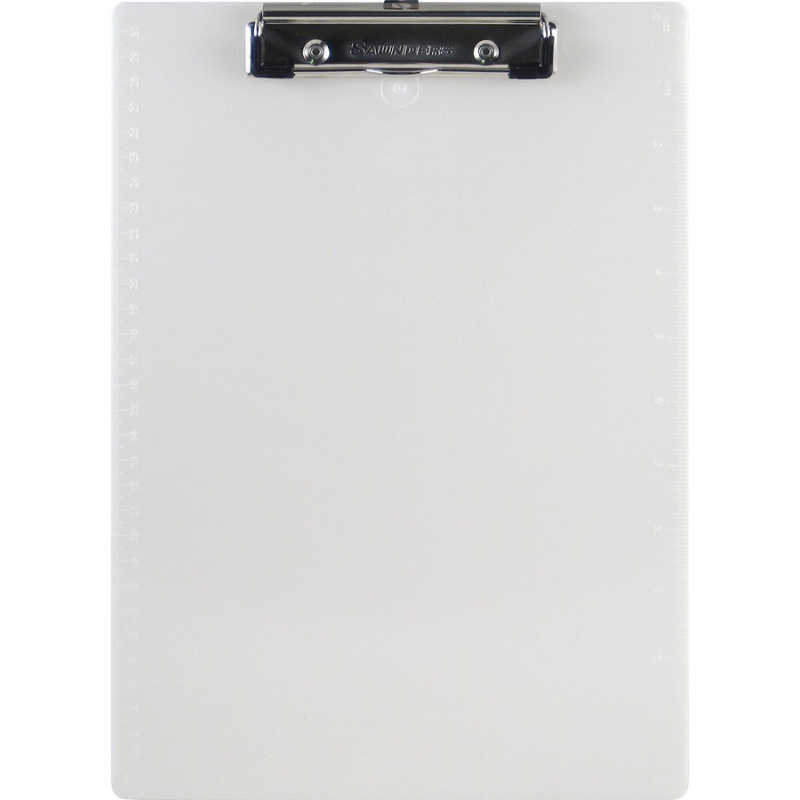 Saunders Recycled Plastic Clipboards With Spring Clip 0 50 Capacity 8 1 2 X 11 Low Profile Pearl Each