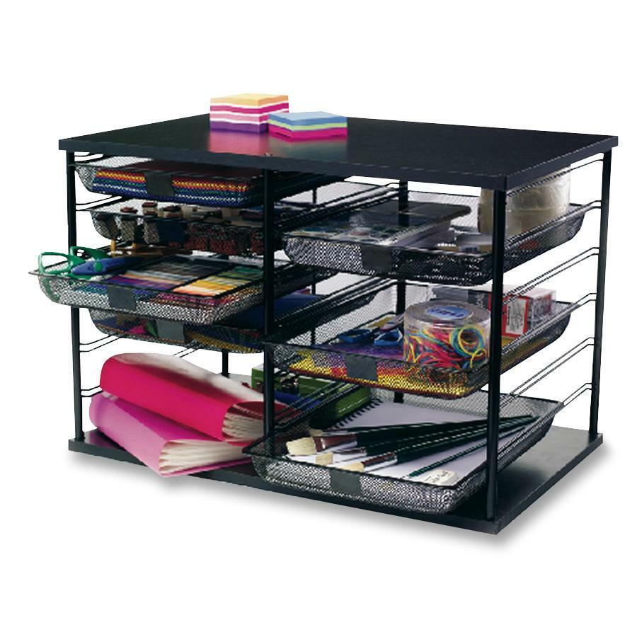 Rubbermaid Mesh Drawer 12 Compartment Organizer S 16 4 Height X 29 1 Width 7 Depth Desktop Black 1each