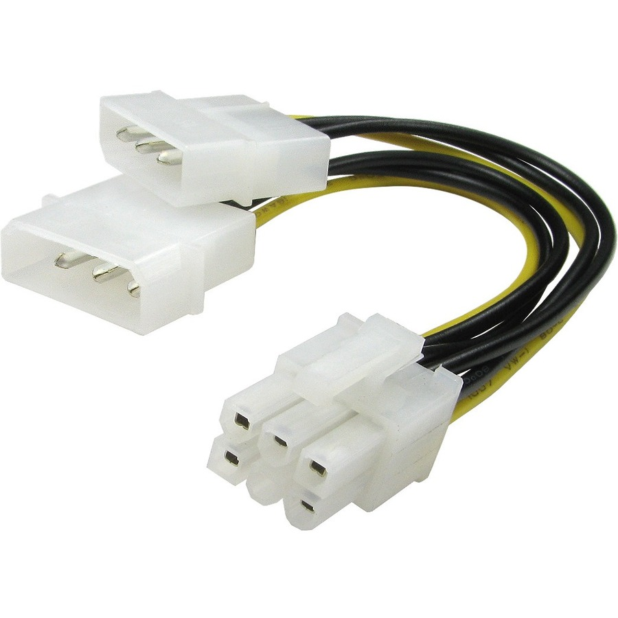 Cables Direct Internal Power Cord - 20 cm Length - PCI-E - Molex - For Graphic Card - Yellow, Black
