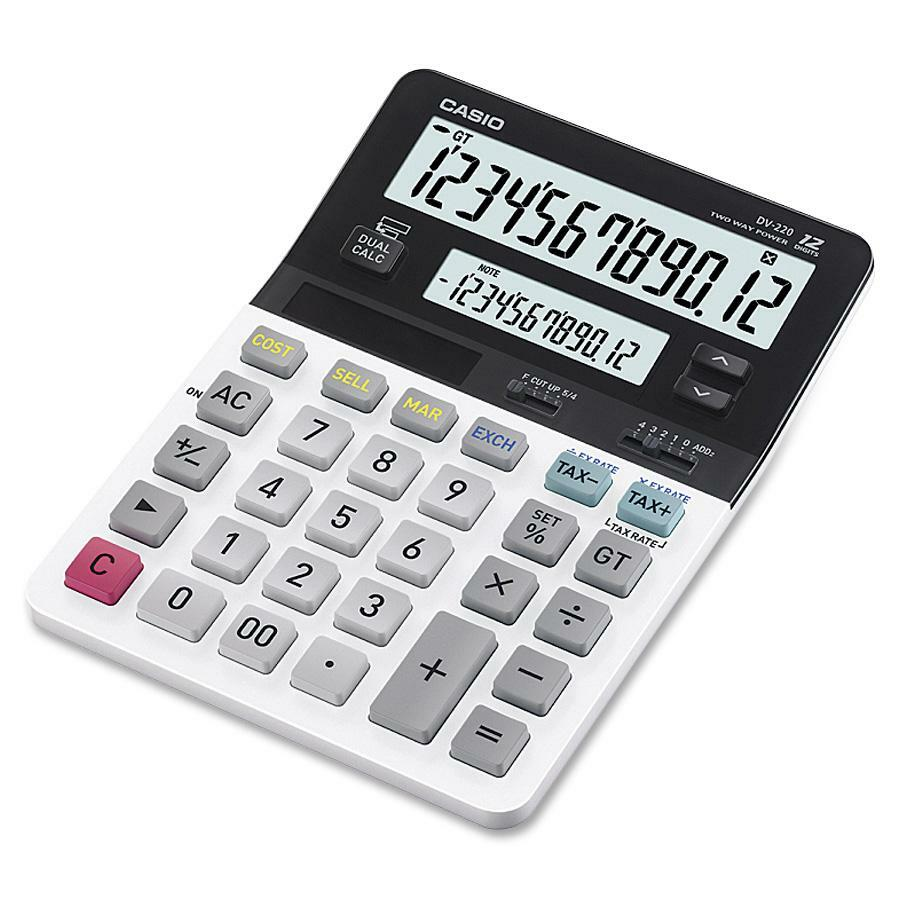Casio D 220 Dual Display Calculator   Dual Display, Key Rollover, Large LCD