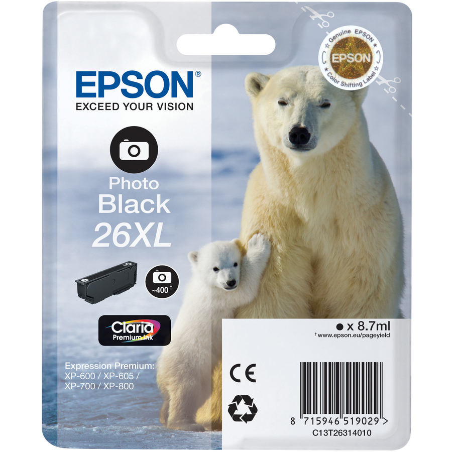 Epson Claria 26XL Ink Cartridge - Photo Black - Inkjet - 400 Page - 1 Pack