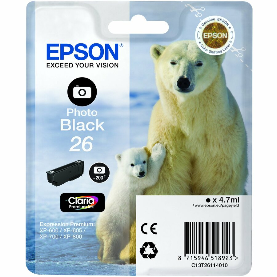Epson Claria 26 Ink Cartridge - Photo Black - Inkjet - 220 Page - 1 Pack