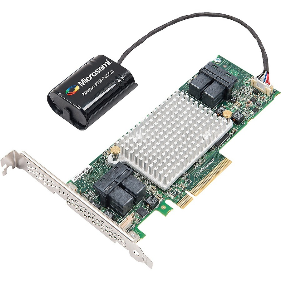 MICROSEMI ADAPTEC SAS Controller - 12Gb/s SAS - PCI Express 3.0 x8 - Plug-in Card - RAID Supported