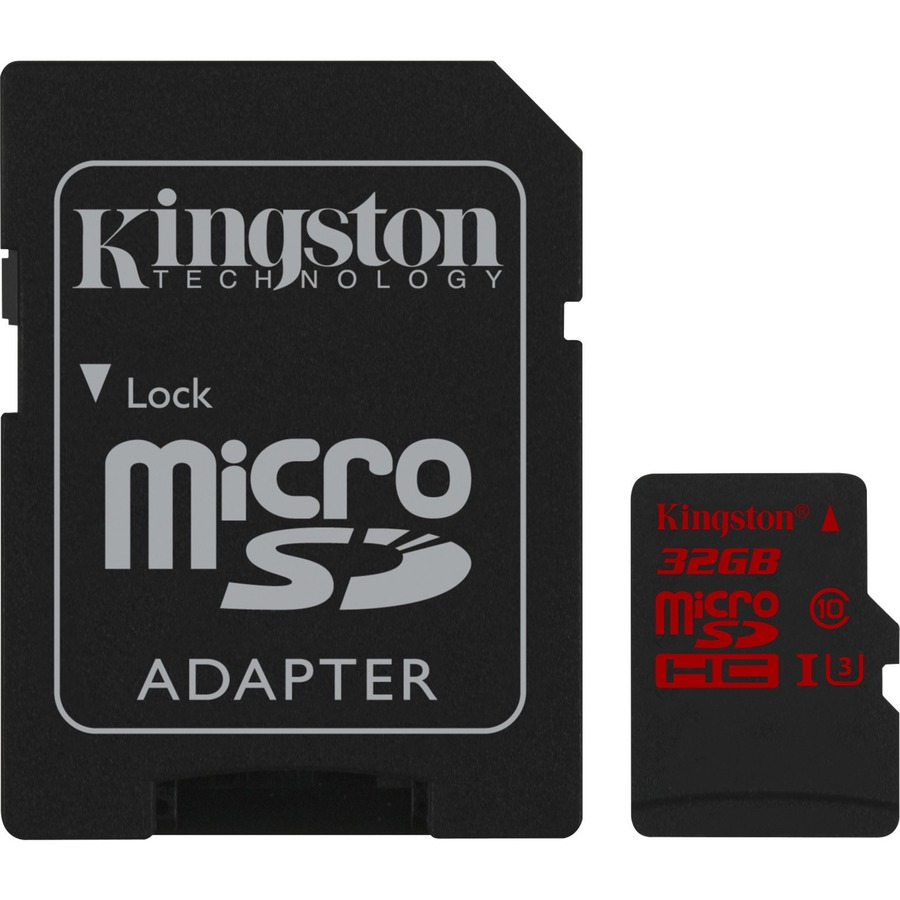Kingston 32 GB microSDHC - Class 3/UHS-I - 90 MB/s Read - 80 MB/s Write - 1 Card