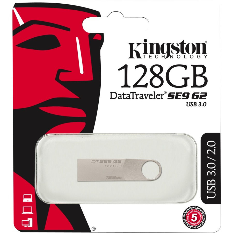 Kingston DataTraveler SE9 G2 128 GB USB 3.0 Flash Drive - Silver - 1/Pack