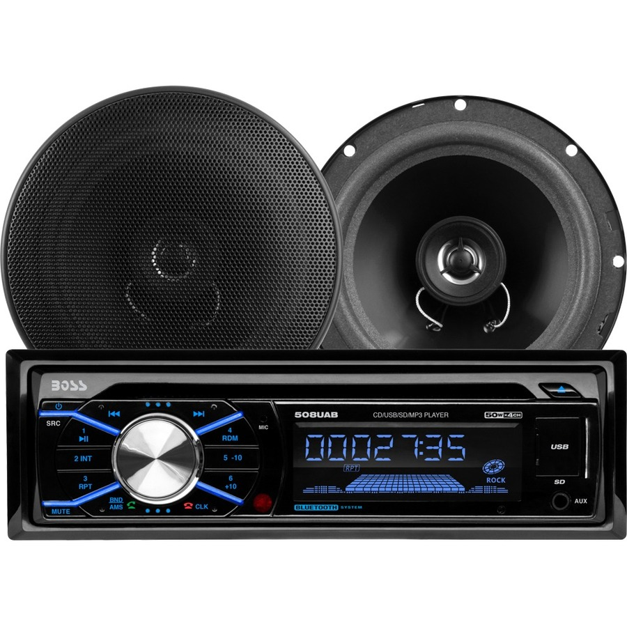 BOSS Audio 656BCK 508UAB CD/MP3 AM/FM Receiver With USB and SD Memory Card  Ports Plus one Pair of 6 5