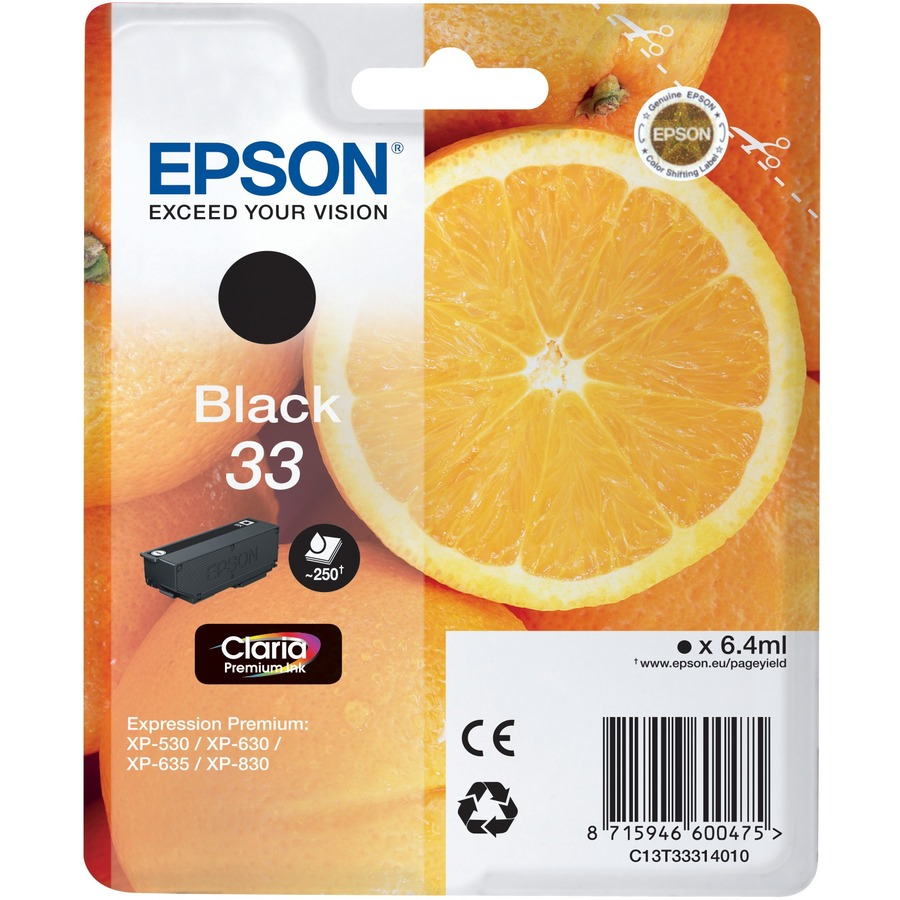 Epson Claria 33 Ink Cartridge - Black - Inkjet - 1 / Blister Pack - OEM